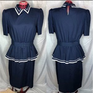 1980s Navy dress with peplum matching belt